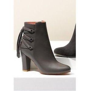 Halogen Gray Sadee Leather Tassel Ankle Boots 5.5